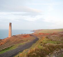 Mine chimney overlooking the sea, Cornwall by photoeverywhere