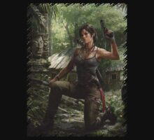 Lara Croft Tomb Raider artwork with gun by shahidk4u