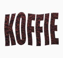 Instant coffee granules spelling koffie (Dutch) by stuwdamdorp