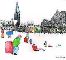 Edinbrough tobogganing snow scene 3 by doatley