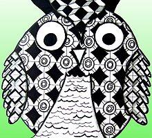 Lime Green Owl by AlyssaKayArt