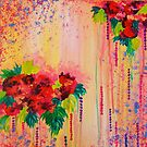STRAWBERRY CONFETTI Abstract Acrylic Floral Bouquet Paainting Pretty Pink Red Peach Flowers by EbiEmporium