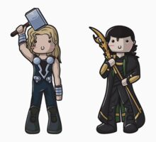 Chibi Thor and Loki by myfluffy