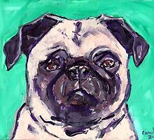 Pug with Purple by Carole Chapla