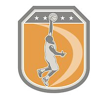 Basketball Player Rebounding Ball Shield Retro by patrimonio