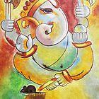 Ganesha painting modern art Ganesha by spectramynd