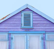 Beach hut loveliness in purple and blue by Zoe Power