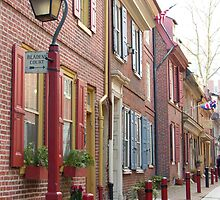 Colorful Street Elfreth's Alley Philadelphia  by Allison Ostertag