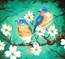 Blue birds in the dogwood by nikki-rae