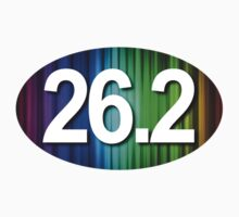 26.2 Oval Sticker - Rainbow Design by robotface