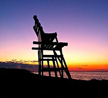 Life Guard Chair at Sunset by LisaThomasPhoto