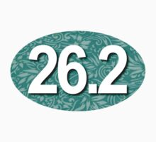26.2 Oval Sticker - Tropical TEAL by robotface