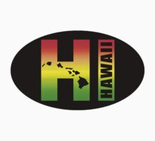 HAWAII Oval Sticker - Surfer Rasta Colors by robotface