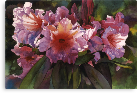"""Watercolor """"Autumn Gold"""" Rhododendron  by Pat Yager"""