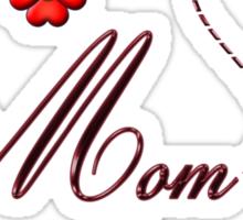 Red Heart Ladybug Mom Flowers Card Sticker