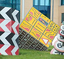 Roadsign sculptures Splott, Cardiff by photoeverywhere