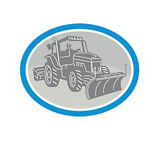 Snow Plow Truck Oval Retro by patrimonio