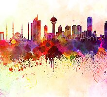 Ankara skyline in watercolor background by Pablo Romero