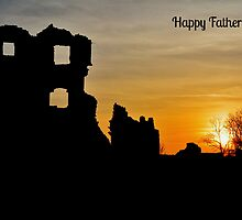 Coity Castle Silhouette - Father's Day Card by Paula J James