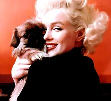 Marilyn Monroe and Pekingese Portrait by Gabriel T Toro