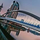 Evening at the Salford Quays lift bridge by Stephen Knowles
