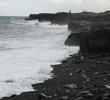 Kalapana black sand beach by photoeverywhere
