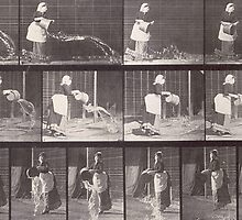 Maid throwing a bucket of water by Bridgeman Art Library