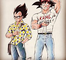 Goku, Vegeta shirt by dthompson0190