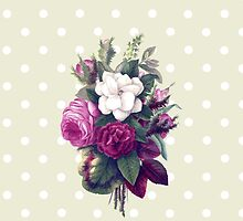 Roses, Flowers, Leaves - Pink Green White by sitnica