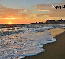 Porthcawl Sunset Birthday Card by Paula J James