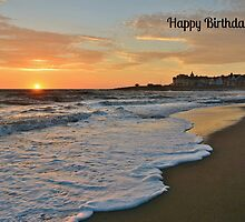 Porthcawl Sunset Birthday Card for Dad by Paula J James