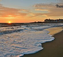 Porthcawl Sunset Thank You Card by Paula J James