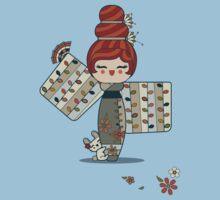 Flower Kimono Kokeshi Girl 2 by ririwillow
