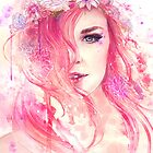 Pink Floral Watercolor Portrait by Julia Blattman