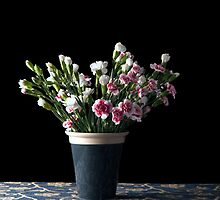 Flowers in black & cream pot. by Alan Organ