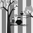Black & White Owls by Adamzworld