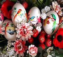 Easter eggs and flowers by Arie Koene