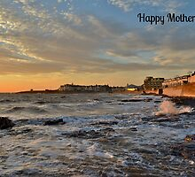 Porthcawl Sunset Mother's Day Card by Paula J James