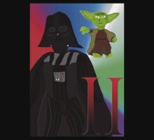 Star Wars Darth Vader And Yoda T-shirt by shaz3buzz2