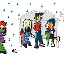 Raining at the Bus Stop by Melissa Gaggiano