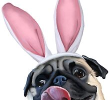 Easter Puggy - Animal Illustration by PixelPaw