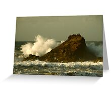 Power of the Wave -  Trevone Bay Greeting Card