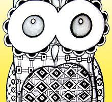 Bright Yellow Zentangle Owl by AlyssaKayArt