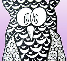 Purple Zentangle Owl by AlyssaKayArt