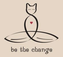 "Stylized Cat Meditator with ""Be The Change"" in fancy text by Mindful-Designs"