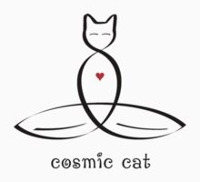 "Stylized Cat Meditator with ""Cosmic Cat"" in fancy text by Mindful-Designs"