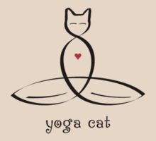 "Stylized Cat Meditator with ""Yoga Cat"" in fancy text by Mindful-Designs"