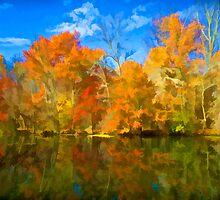 Brilliant Bright Colorful Autumn Trees on the Canal by David Letts