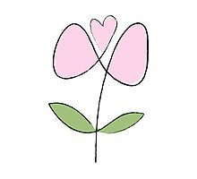 Simple line flower - pink Photographic Print