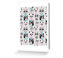 pattern of retro hipster animal portraits  Greeting Card